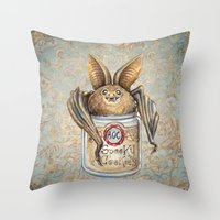 cookies Throw Pillows featuring Bat Cookies by Patrizia Ambrosini