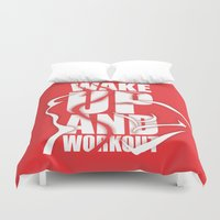 workout Duvet Covers featuring Lab No.4 - Wake Up And Workout Inspirational Quotes poster by Lab No. 4
