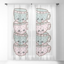Stack of Tea Cups Sheer Curtain
