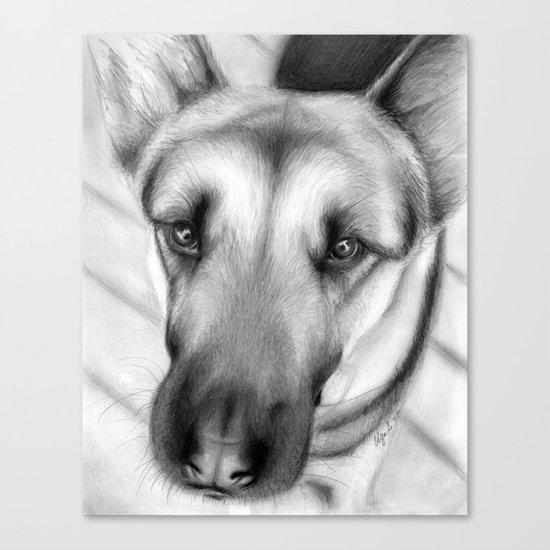 Dog Drawing German Shepherd Canvas Print