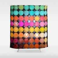 macaroons Shower Curtains featuring Any Color You Like by Joke Vermeer
