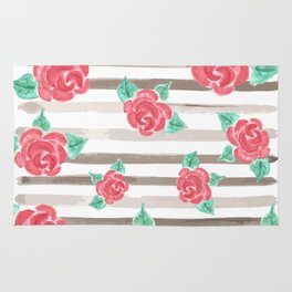 Stripes and Roses // Watercolor Rug