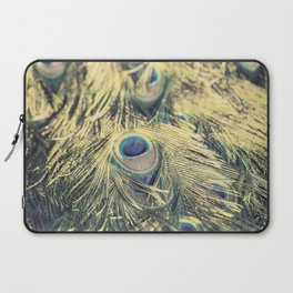 Peacock feathers photography blue green brown photography branches immortality royalty Laptop Sleeve