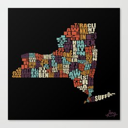 Counties Of New York Canvas Print