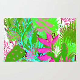Jungle Garden Greens and Pinks Rug