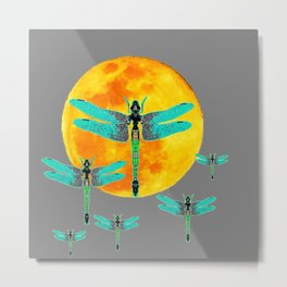 GREEN DRAGONFLIES FLYING TO MOON Metal Print