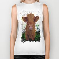 cow Biker Tanks featuring cow by Vector Art