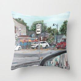 The Scotty Dog Beverly Massachusetts One Way Street Scene Throw Pillow