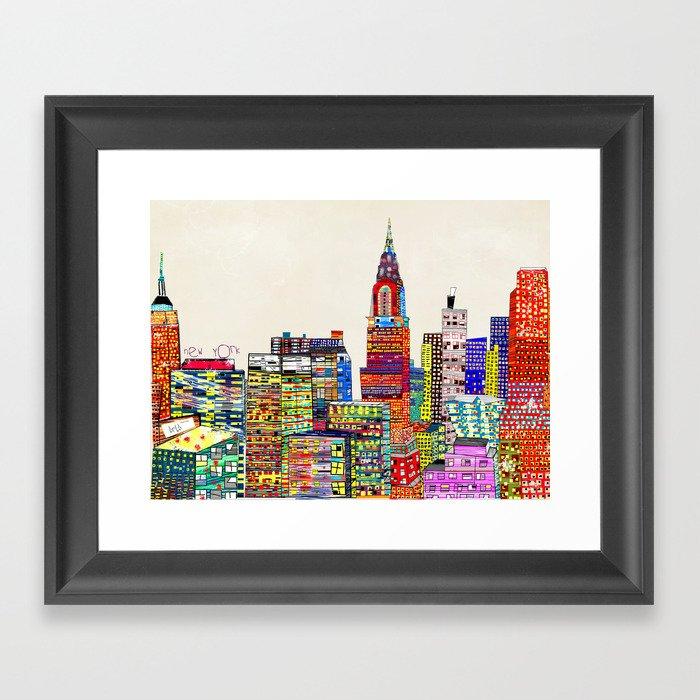 new york city skyline Gerahmter Kunstdruck