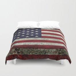 American Flag, Old Glory in dark worn grunge Duvet Cover
