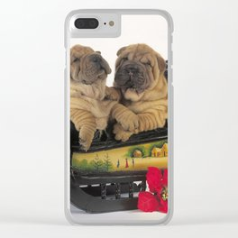 Cute Sharpei in sledge Clear iPhone Case