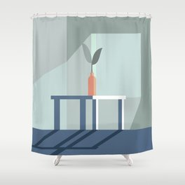 Minimalistic Room Graphic With Flower Shower Curtain