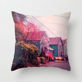 Astoria Oregon Neighborhood Houses, Grand Street in October Throw Pillow