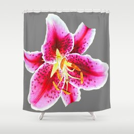 GREY FUCHSIA PINK ASIATIC LILY FLOWER  ABSTRACT ART Shower Curtain