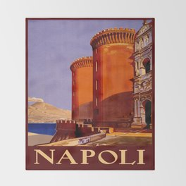 Napoli - Naples Italy Vintage Travel Throw Blanket