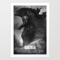 godzilla Art Prints featuring Godzilla by ffejeromdiks