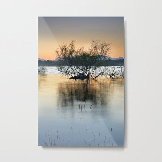 """Peace at the lake"". Dream sunset. Metal Print"