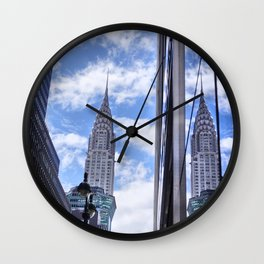 Chrysler Building Reflections in Midtown Wall Clock