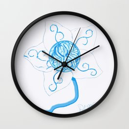 elegant white flower with teal blue-green center Wall Clock