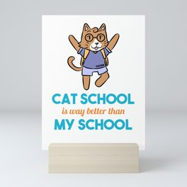 Cat school smart learning Nerd Miau Mini Art Print