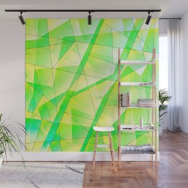 Bright bright fragments of crystals on irregularly shaped green and yellow triangles. Wall Mural