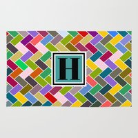 monogram Area & Throw Rugs featuring H Monogram by mailboxdisco