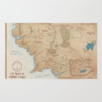 middle earth Area & Throw Rugs featuring Map of Middle Earth by Kaz Palladino
