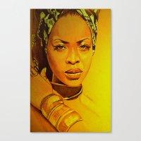 erykah badu Canvas Prints featuring Erykah badu by Dezz Manuel