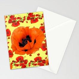 MODERN ART POPPIES GARDEN GREY DESIGN Stationery Cards