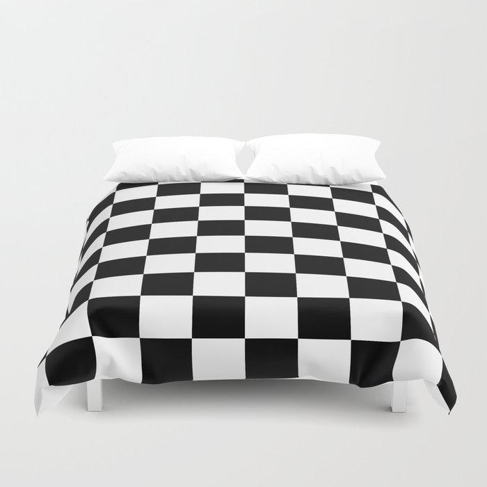 Checkered Pattern Black White Duvet