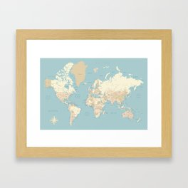 "Cream, brown and muted teal world map, ""Jett"" Framed Art Print"