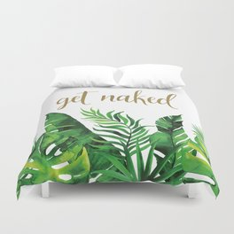 Get Naked Tropical Palm Leaf Jungle, Gold Quote Duvet Cover