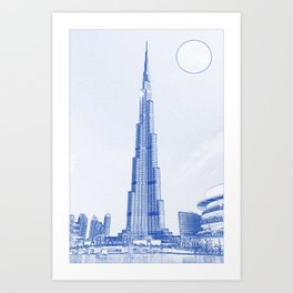 Blueprint drawing of Burj Khalifa Emirates Dubai 2s Art Print