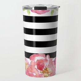 Stripe Black & White Horizontal and Watercolor Roses Travel Mug