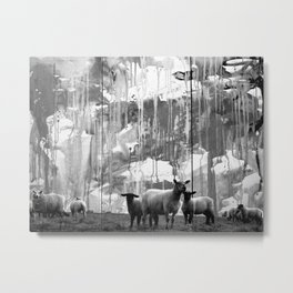 ARTland sheeps bw Metal Print