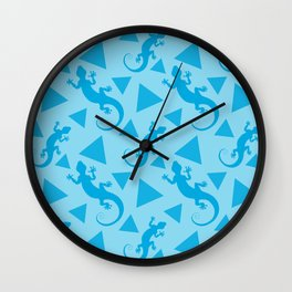 Wild crawling lizards, geometric triangle shapes whimsical ethnic tribal retro vintage warm pastel blue abstract pattern. Gift ideas for geometry and animal lovers. Herpetology. Wall Clock