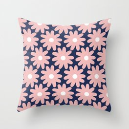 Crayon Flowers Smudgy Pastel Floral Pattern 2 in Pink and White on Navy Blue Throw Pillow