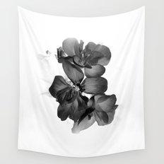 Black Geranium in White Wall Tapestry