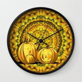 Halloween pumpkins and fall kaleidoscope Wall Clock