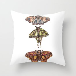 Three Moths Throw Pillow