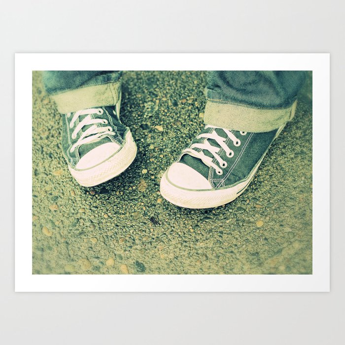Chuck Taylor Converse Shoes Lomo Green Art Print by danielledenham