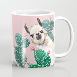 Llama and Cactus Pink Coffee Mug