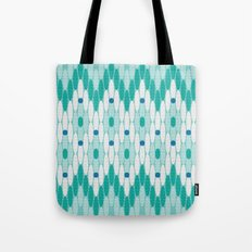 Ikat Chevron Teal Tote Bag