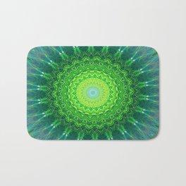 Glowing Green Ribbon Kaleidoscope Bath Mat