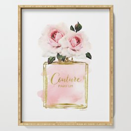 Perfume bottle with Flowers, Pink Roses, Make up, Blush Serving Tray