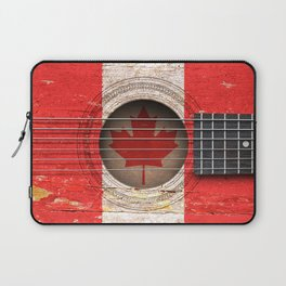 Old Vintage Acoustic Guitar with Canadian Flag Laptop Sleeve