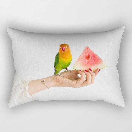 Parrot and watermelon Rectangular Pillow