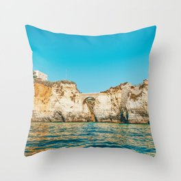 Rocks, Cliffs And Ocean Landscape At Lagos Bay Coast, Wall Art Print, Landscape Art, Poster Decor Throw Pillow