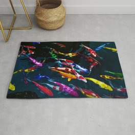 Vibrant Blue, Red, & Gold Koi Amid the Lotus Flowers Painting by Jeanpaul Ferro Rug