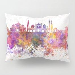 Delhi skyline in watercolor background Pillow Sham